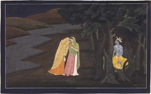 Radha, Enter Intimate Mundial de Krishna Página de una serie de la Gita Govinda (Canción del Señor de las Tinieblas)  Philadelphia Museum of Art