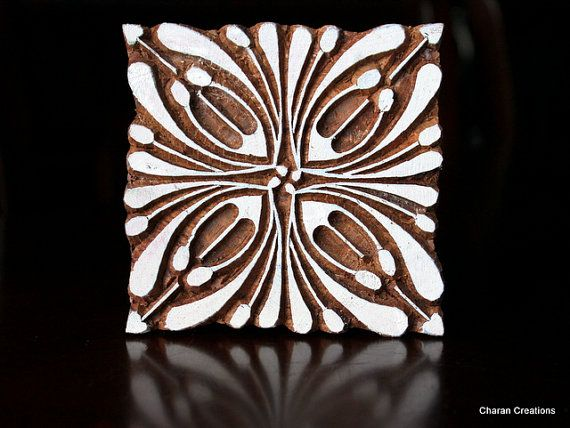 Hand Carved Indian Wood Textile Stamp Block- Square Art Deco Floral Design via Etsy