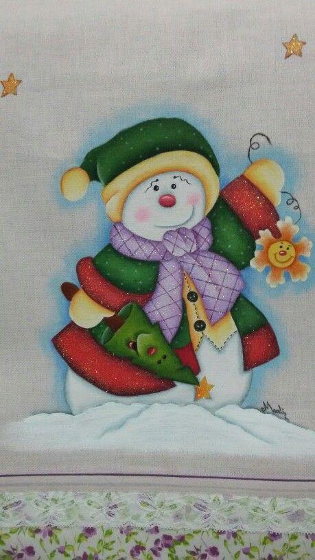 Pano de prato de natal by marli vieira mu ecos nieve - Dibujos navidenos para pintar en tela ...
