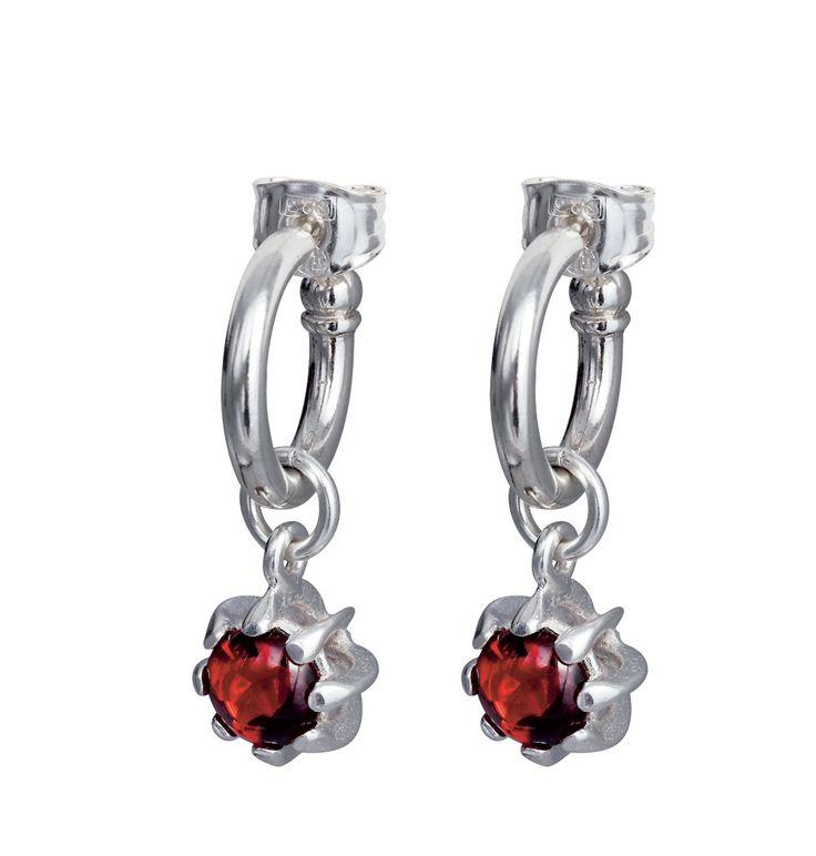 CARMEN EARRINGS  Designer: Kirsti Doukas  material: silver  stone:garnet