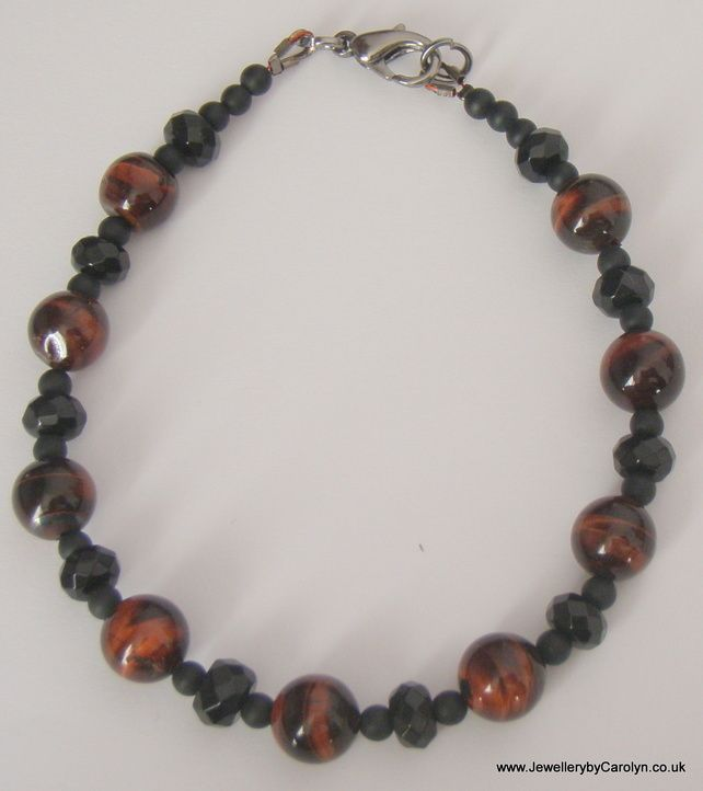 Red Tiger's Eye, Black Onyx and Frosted Black Agate Bracelet £8.00