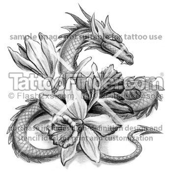 Dragon and flowers - Daffodil Dragon tattoo design by George