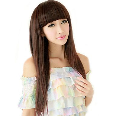 High Quality Synthetic Full Bangs Capless Long Straight Hair Wig(Chestnut Brown)