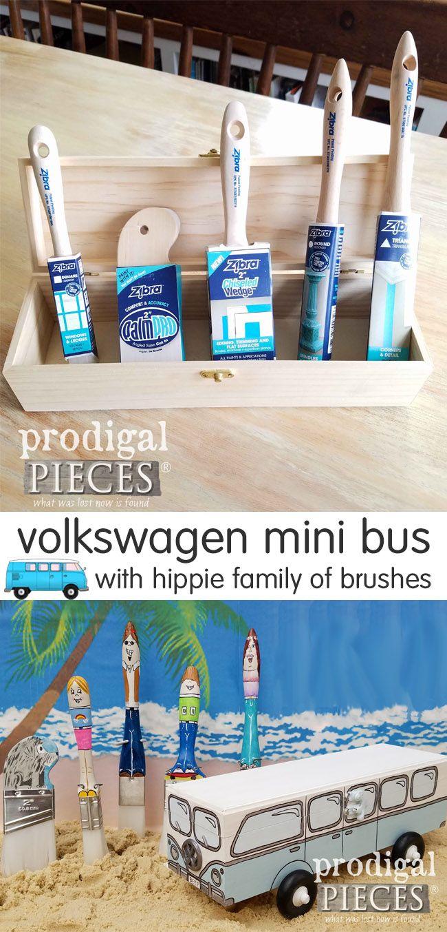 Volkswagen Mini Beep And Hippie Paint Brush Fun Hippie Painting Mini Bus Retro Decor