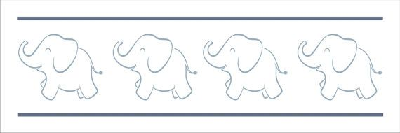 Elephant  Border Stencil  REPEATABLE Stencil 4 por SuperiorStencils