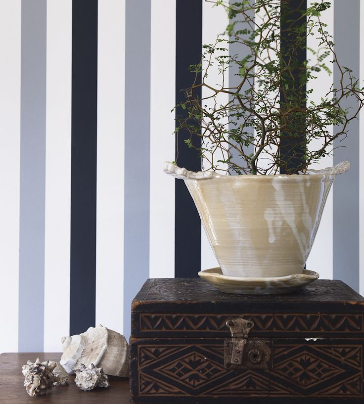 Classic broad striped wallpaper.  Design Classic | Nautical | Fredrika Wallpaper by Sandberg | Jane Clayton