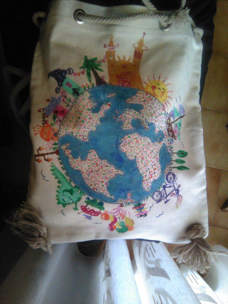 Painted backbag- kamvas- all the world