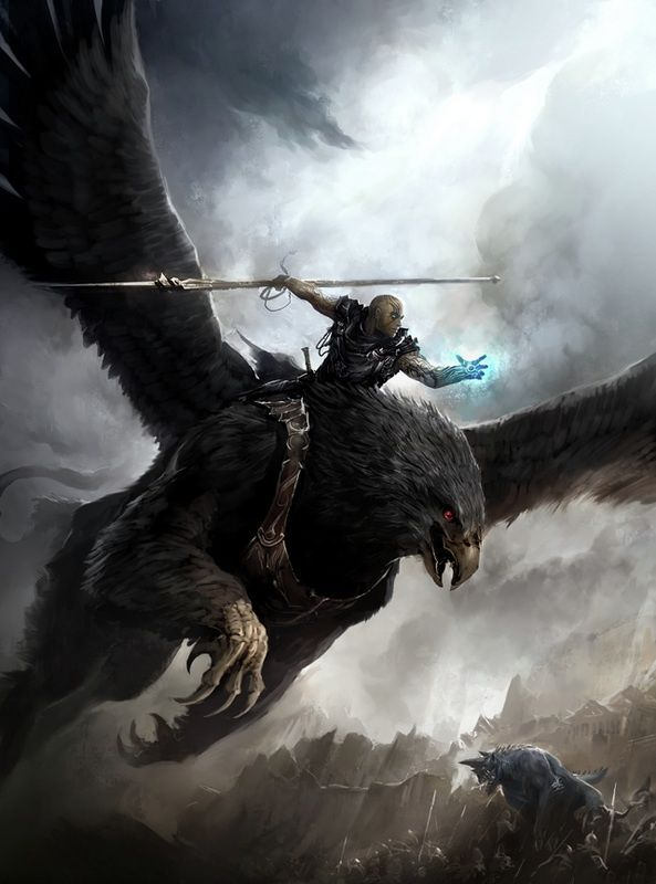 Griffin Rider Sorcerer Spear Fighter Barbarian Monster