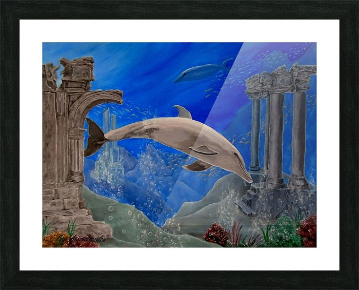 Framed Print, dolphin,aquatic,life,painting,underwater,world,scene,wildlife,fish,seascape,ruins,temples,sunk,ancient,town,saltwater,ocean,sea,deep,bottom,floor,nature,reefs,bubbles,vivid,colorful,aqua,blue,water,mystery,submerged,marine,animal,beautiful,awesome,cool,superb,amazing,fabulous,magnificent,contemporary,realistic,figurative,in,of,under,the,fine,oil,wall,art,images,home,office,decor,artwork,modern,items,ideas,for sale,pictorem