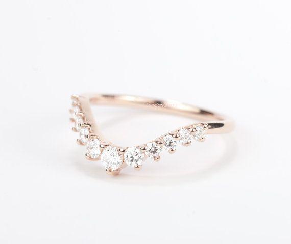 CERTIFIED - E-F, VVS - VS, Diamond Curved Wedding Band 14K Rose Gold