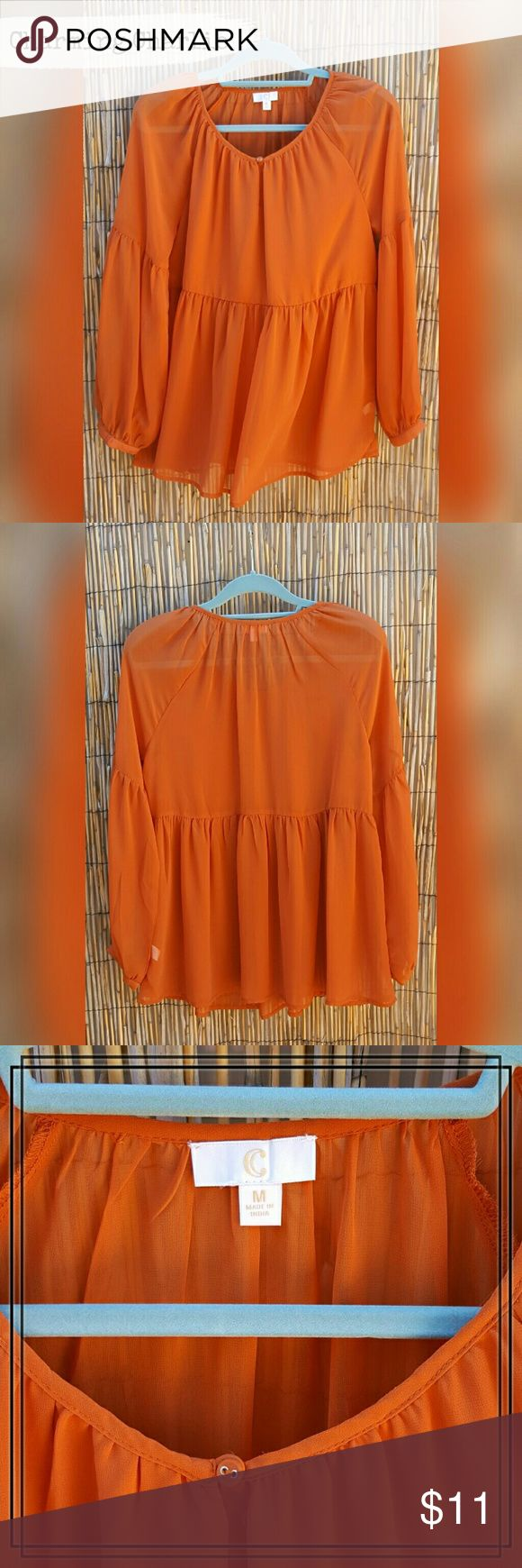 Burnt Orange Blouse Chiffon peasant style Blouse. Scoop neckline with a button closure in front. Never worn. ?????? Charming Charlie Tops Blouses