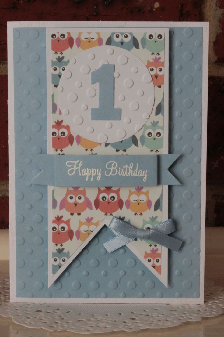 Cute 1st Birthday card. Blue tones, embossing and ribbon.