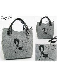 Kabelka šedá - čierna mačka filc 19B