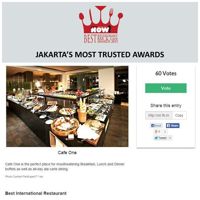 Give your vote for Cafe One for The Best International Restaurant on #BRBCA2015! #Jakarta #NOWJakarta #LifeinTheCapital #BRBCA #Best #International #Restaurant #Category #Award #Event #JKTEvent #Cafe #One #CafeOne #CafeOneJakarta #CafeOneJKT #Park #Lane #Hotel #ParkLane #ParkLaneHotel #ParkLaneJakarta #ParkLaneJKT #ParkLaneHotelJakarta #ParkLaneHotelJKT #Brunch #Lunch #Dine #Hangout