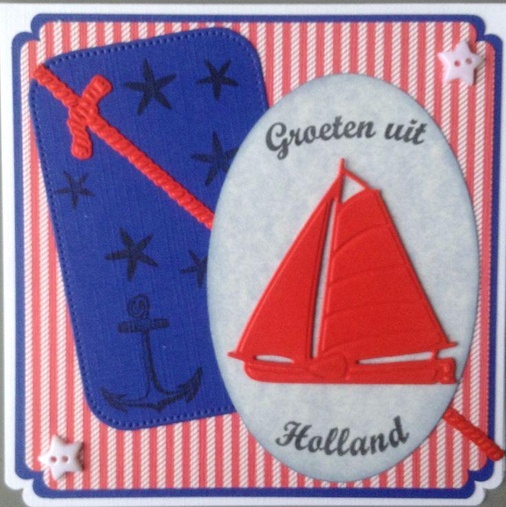 """Kaart met zeilboot """"Groeten uit Holland"""" naar Finland"""