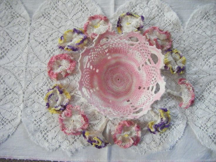 Sugar Starched Crochet Dish & Doily.