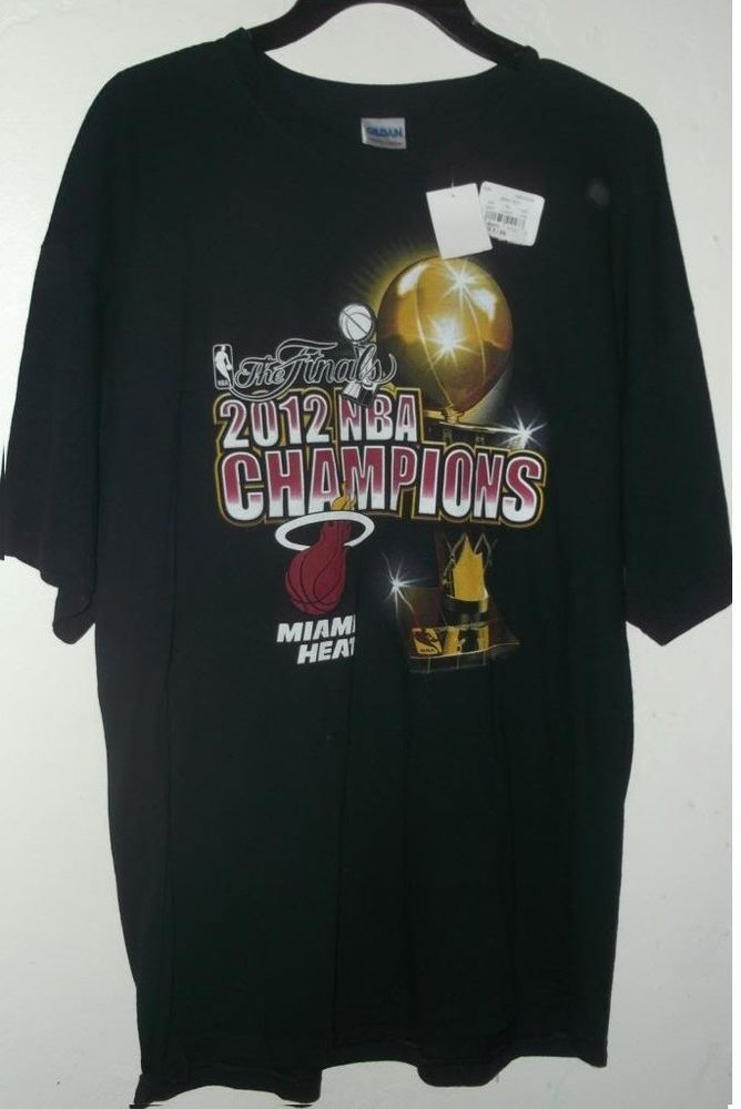 NWT MIAMI HEAT 2012 NBA CHAMPIONS T SHIRT  BLACK  pic size L XL or XXL NBA LIC #MiamiHeat