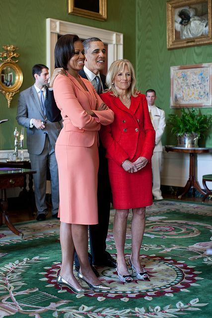 President Barack Obama, First Lady Michelle Obama, and Dr. Jill Biden wait in the Green Room of the White House before the East Room event to launch the First Lady's and Dr. BidenÕs Joining Forces national initiative to support and honor AmericaÕs service members and their families, April 12, 2010. (Official White House Photo by Pete Souza)    This official White House photograph is being made available only for publication by news organizations and/or for personal use printing by the…