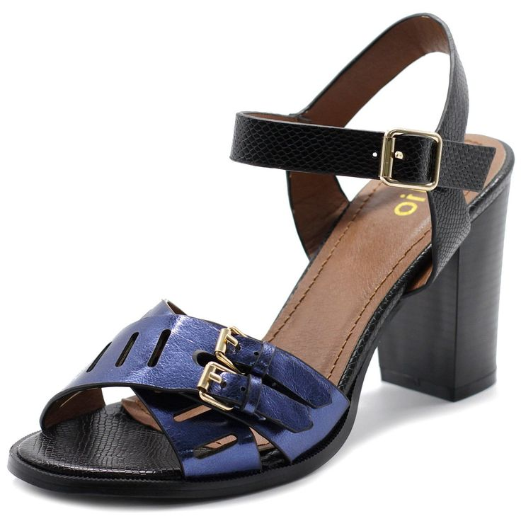 """Ollio Womens Double Buckle Metallic High Heel Sandal (10 B(M) US, Blue). Manmade Material. Synthetic. Faux Wood. Heel Height: 3.75"""". Origin: Made in China."""