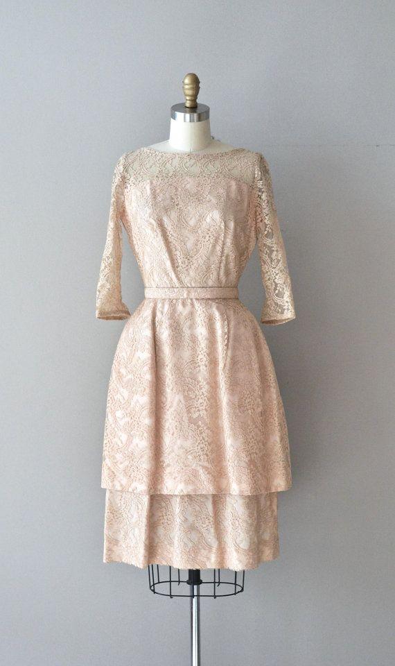 Pavanne dress / vintage 1950s lace dress / champagne by DearGolden, $224.00