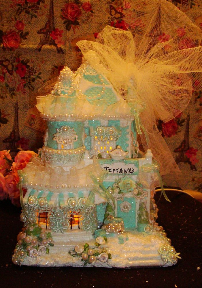 Aqua Christmas Turquoise Christmas Tiffany Blue Christmas Village OOAK Teal Rose