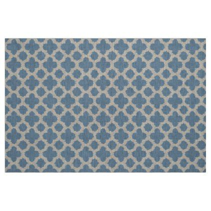 Smokey Gray Blue Ikat Quatrefoil Pattern Fabric - classic gifts gift ideas diy custom unique