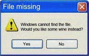 windows cannot find file... wine instead?  funny quote