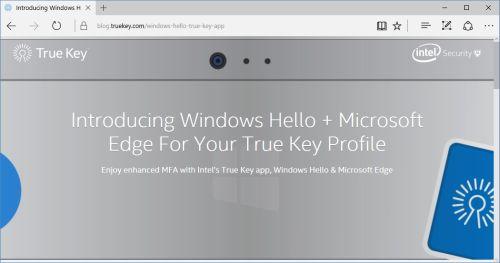True Key von Intel Security erweitert als erster Passwort-Manager mit Multi-Faktor-Authentifizierung seine Sicherheit mit Windows Hello