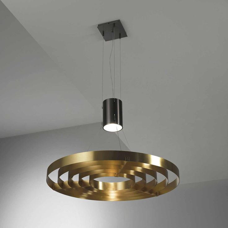 Dark Light MA 10. Hanging lamp with central lighting body, cables in steel and rings in brass. by Mark Anderson   Laurameroni