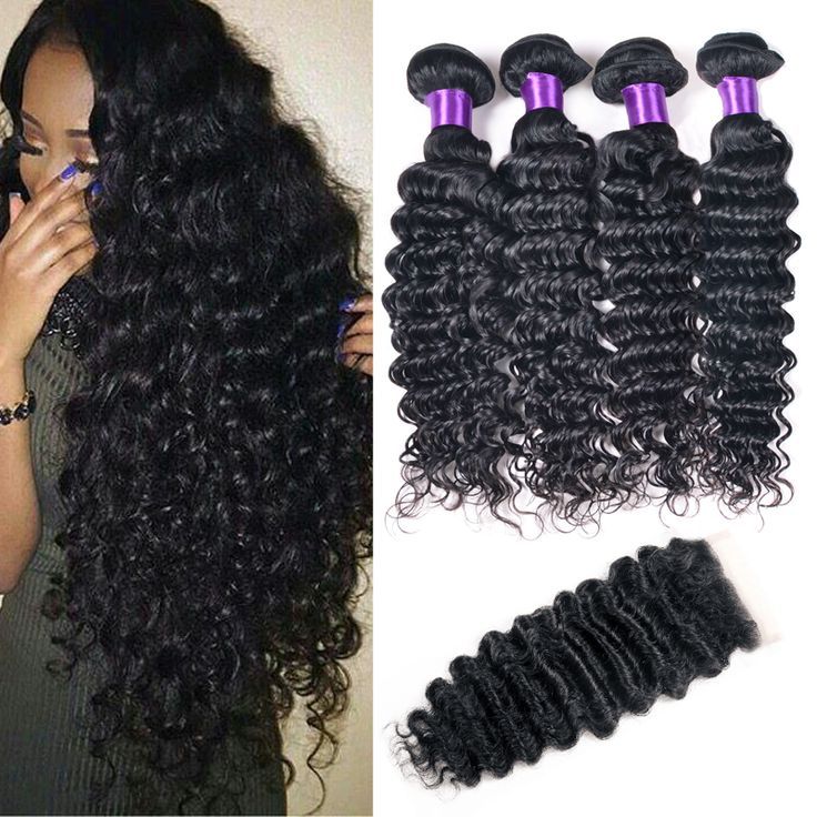 7A Brazilian ⑥ Deep Wave With Closure 3/4 Bundles With ► Closure Brazilian Deep Curly Virgin Hair With Closure Mink Human Hair Weave7A Brazilian Deep Wave With Closure 3/4 Bundles With Closure Brazilian Deep Curly Virgin Hair With Closure Mink Human Hair Weave