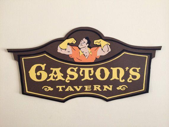2 ft Long Gaston's Tavern Sign Disney Party Prop by ALoftyCraft