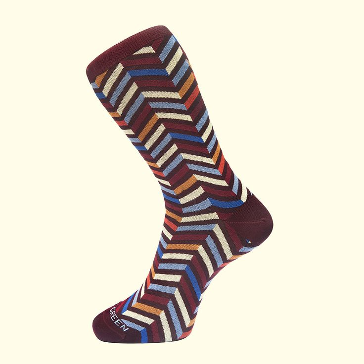 Zig Zag Pattern Sock in Burgundy