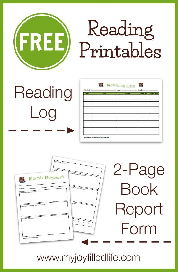 FREE Reading Printables - A Reading Log & 2-Page Book Report Form