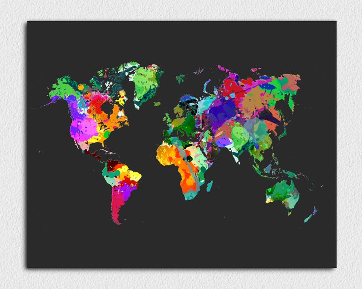 Paint splatter world map in dark background. The colours really pop. DIY - download, print and frame.