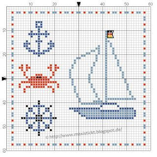Nautical free cross stitch pattern