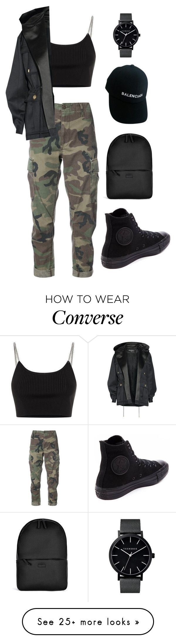 """fashion"" by ee3674889 on Polyvore featuring RE/DONE, Alexander Wang, Balmain, Converse, Rains and Balenciaga"