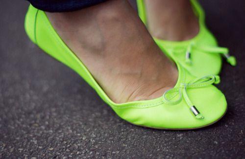 Neon ballet flats.