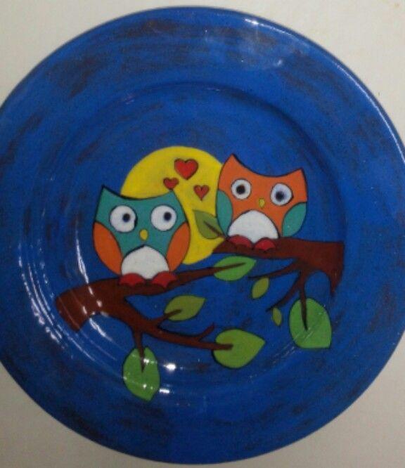 Baby plate #babyplateset #owls #painting #clay #handmade