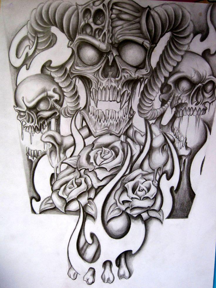 Awesome Grey Ghost Skulls Tattoo Design Skull sleeve