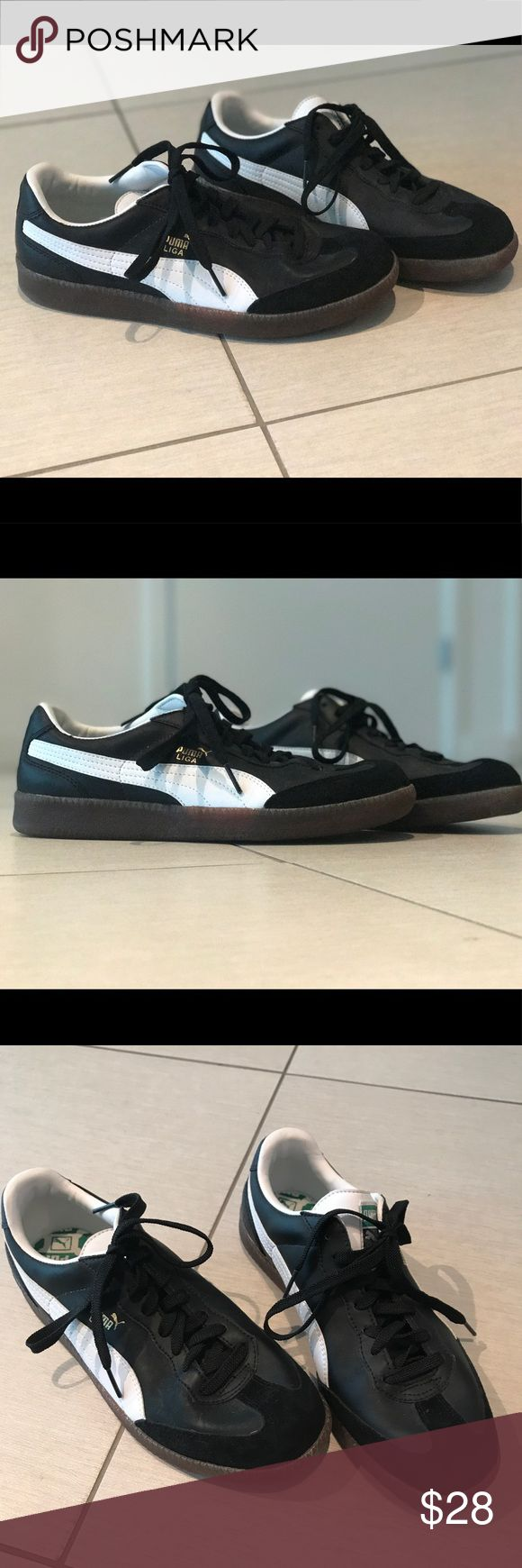 Puma Liga black suede sneakers Perfect condition. Never been used. Only worn to try on inside. Any questions please ask. Puma Shoes Sneakers