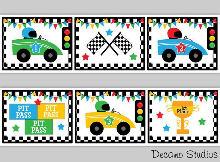 Race Car Border Decal Wall Art Boys Room Decor Checkered Flag Stripe Auto Racing #DecampStudios