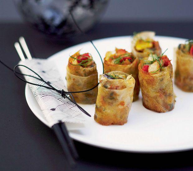 Krokante groentehapjes met basilicum
