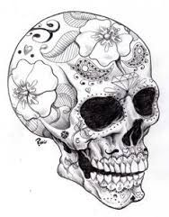 Image result for black and white sugar skull girl tattoo