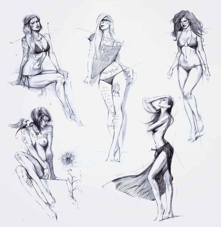 рисунки женских фигур карандашом лютики