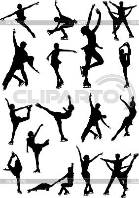 Set of figure skating silhouettes | Stock Vector Graphics |ID 3390291