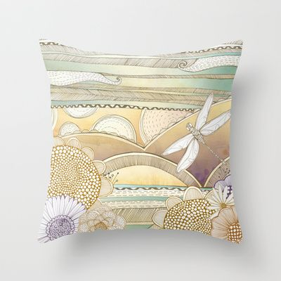 Dragonfly Blossom Landscape Throw Pillow by Jessica Wilde - $20.00
