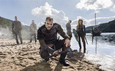 Scarica sfondi gustaf skarsgard, canadese, irlandese serie tv, l'attore svedese, vichinghi, floki