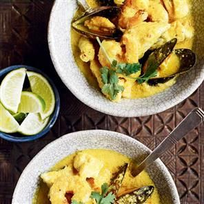 Thai yellow fish curry recipe. Debbie Major's Thai yellow fish curry is quick to make and tastes incredible. Perfect for entertaining.