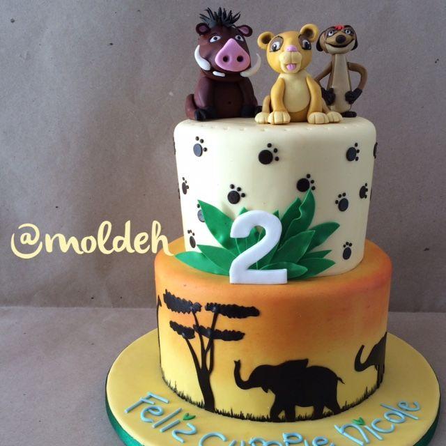 Pastel de Rey León para el cumple de Nicole // Nicole's Lion King birthday cake // Simba, Timon and Pumba