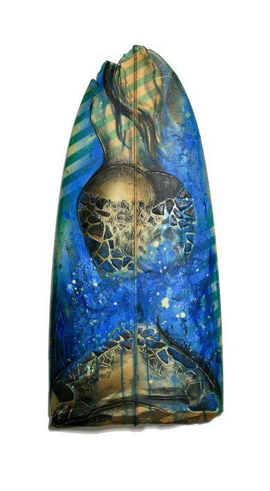 Surf Board Artist TessSheerin. Surfer Art. Sexy Fish Lady - Female Figure Pinup Girls Tess Sheerin